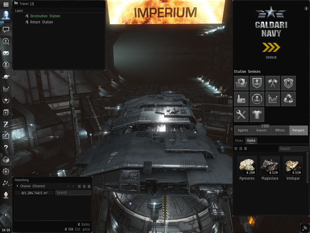 TinyMiner Warp to Zero Hauler ready to start in station - Click to view at Full Size!