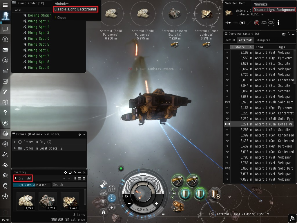 TinyMiner mining at an asteroid belt - Click to view at Full Size!